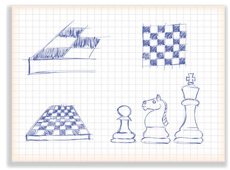 goal cage: stick set of chess elements for design, on a checkered background