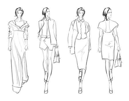 Schizzo. Fashion Girls su uno sfondo bianco