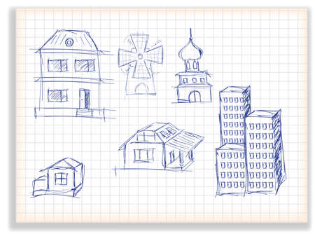 modern house: stick set of different buildings on a checkered background Illustration