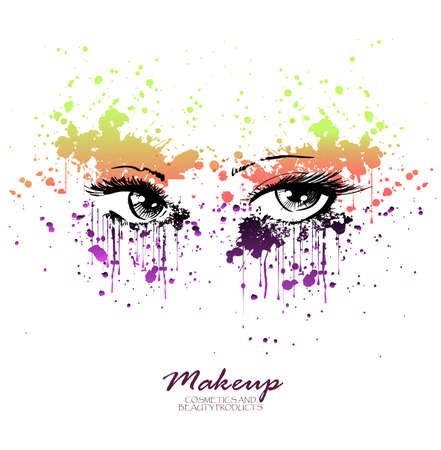 Vector illustration grunge beautiful female eyes