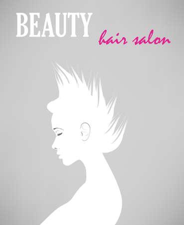 Hair salon poster. Woman Hair style Silhouette.