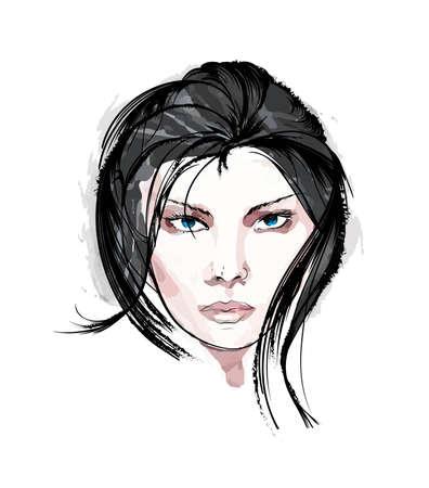흰색 배경에 아름다움 여자 얼굴