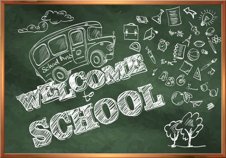 buss: Welcome to school. A blackboard with a school bus and drawings on the topic of education.
