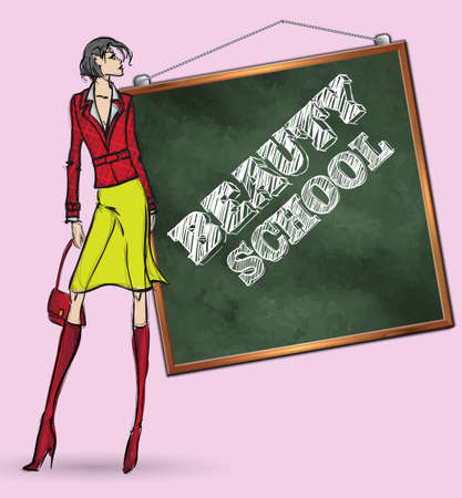 Beauty School. Fashionable sketch with an inscription board and a girl Illustration
