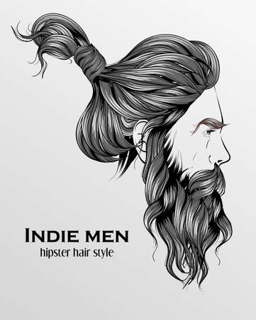 indie men hipster hair style design on gray background Illustration