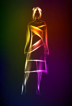 Hand-drawn fashion model from a neon. A light girls Illustration