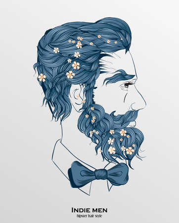 indie men hipster hair style design on gray background Stock Illustratie