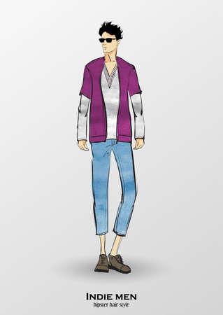 Sketch. Indie man. Handsome stylish man showcasing street fashion