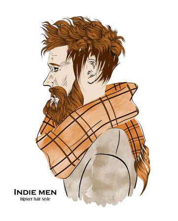 Indie mode mannen. Hipster haarstijl ontwerp op witte achtergrond Vector Illustratie