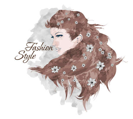 Sketch of Fashion style. Girl with flowers in her hair Illustration