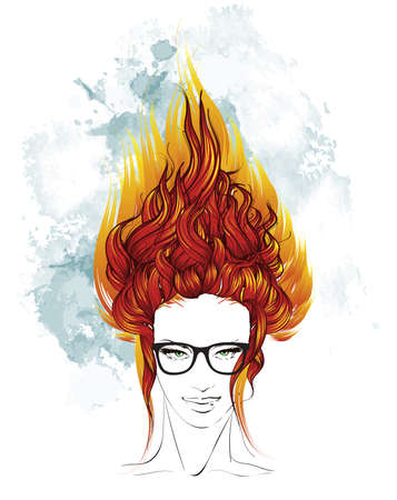 fiery: Indie girl with long fiery hair.
