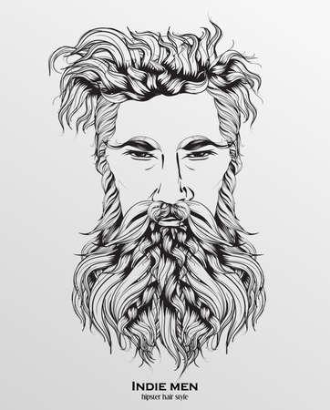Indie man hipster haarstijl ontwerp op grijze achtergrond