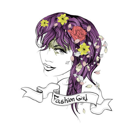Sketch of Fashion girl. Girl with flowers in her hair