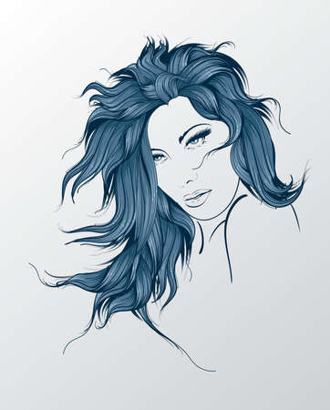Fashion Style. Sketch. Beauty girl face on a white background Illustration
