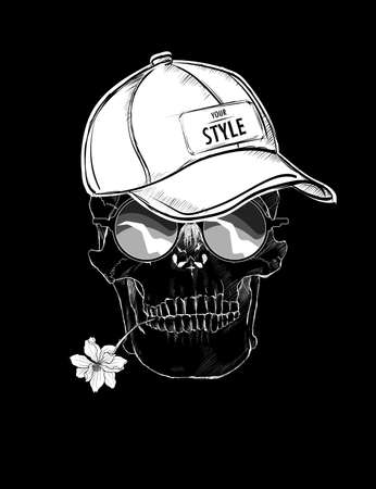 Illustration of a skull in a baseball cap, glasses, with a flower in the teeth. Isolated over black background