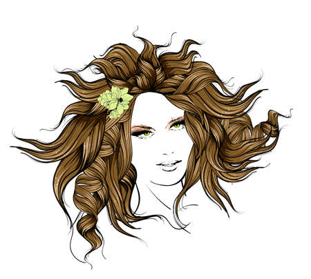 Sketch of Fashion style. Girl with flowers in her hair