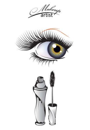 Makeup artist. Female eyes with long eyelashes and a bottle of mascara