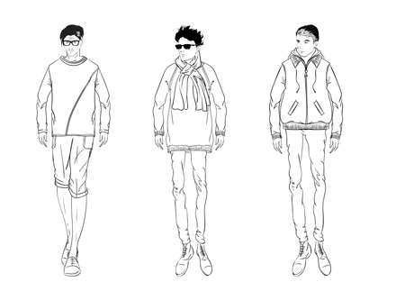 guy standing: Sketch. Handsome stylish man showcasing street fashion