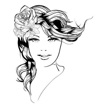 Schetsen. Zomerstijl. Meisje met bloemen in haar haar Vector Illustratie