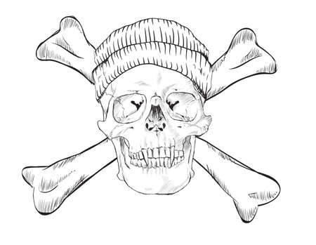 Skull in hat and dice, on white background.