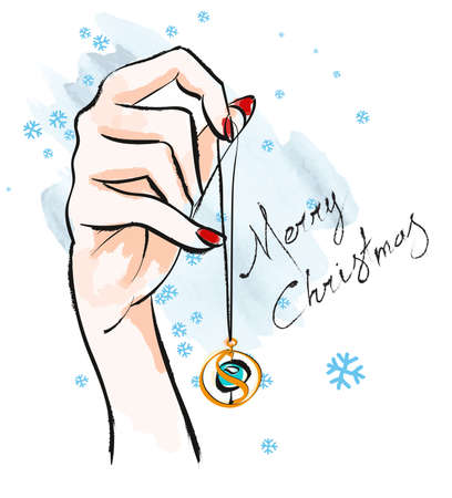 Merry Christmas. Illustration with pendant in hand. Fashionable accessories.