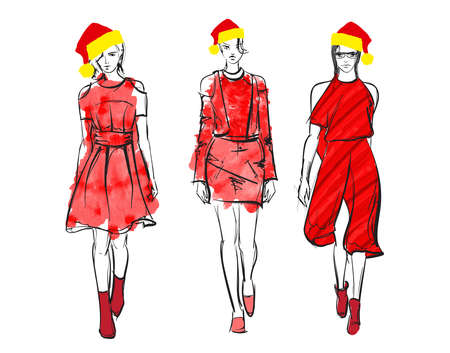 Attractive santa girl. Fasion christmas illustration. Set of christmas girls.