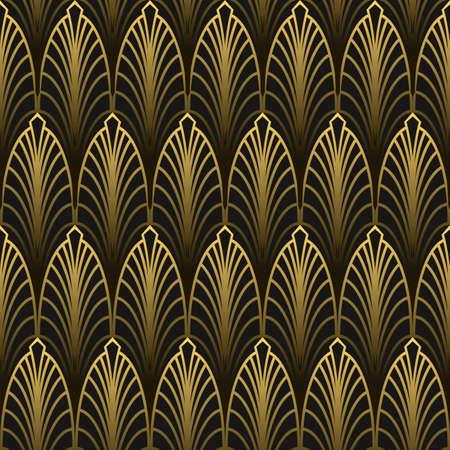 Art Deco style seamless pattern golden texture Illustration