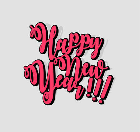 Happy New Year letter on white background. Template for the design of a greeting card with a three-dimensional typographic label