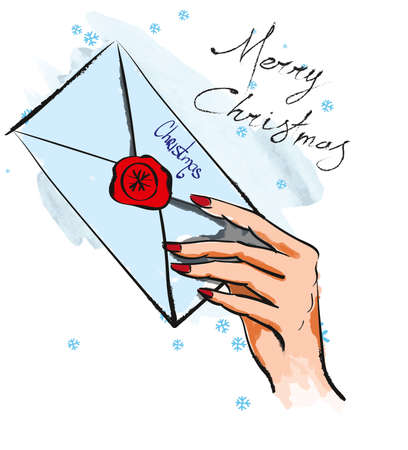 Merry Christmas. Illustration with letter in hand. Christmas mail.