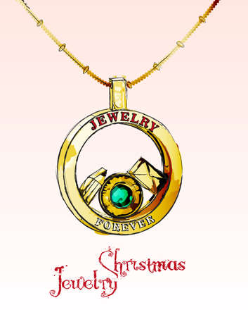 Christmas card. Jewelry christmas. Illustration of a golden pendant with an emerald, a pencil and a mail envelope.