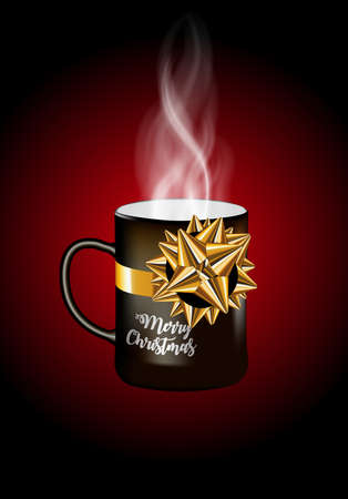 Merry christmas. Celebration background with cup, Place for your text. Gift cup  with golden gift bow. Vector Illustration Illustration