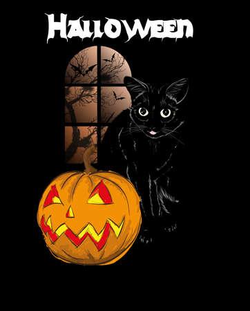 Halloween vector greeting card. Cat with pumpkin Illustration