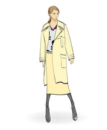 Autumn-winter 2018. Lovely girl in coat, on white background. Illustration