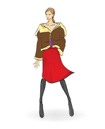 Autumn-winter 2018. Lovely girl in  sheepskin coat, on white background. Vector illustration. Illustration