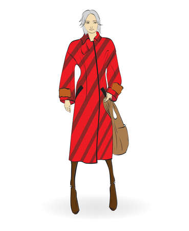 Autumn-winter 2018. Lovely girl in red coat, on white background. Illustration