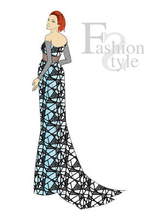 Autumn-winter 2018. Beautiful girl in a blue evening dress with a black mesh, on a white background Vector illustration. Illustration