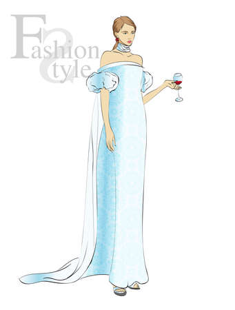 Autumn-winter 2018. Lovely girl in a blue evening dress, on a white background. Vector illustration. Illustration