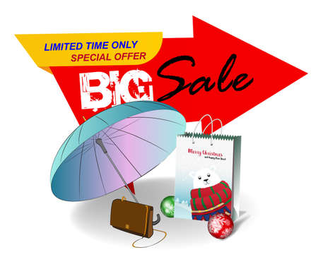 Big sale banner. Limited time only. Vector banner with an umbrella, a womans handbag  and a Christmas gift bag on a white background. Illustration for a big sale.