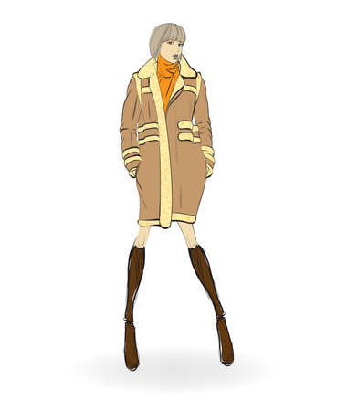 Sketch. Fashion Girls on a white background. Autumn-winter 2018. Beautiful girl in a coat . Winter fashion model.