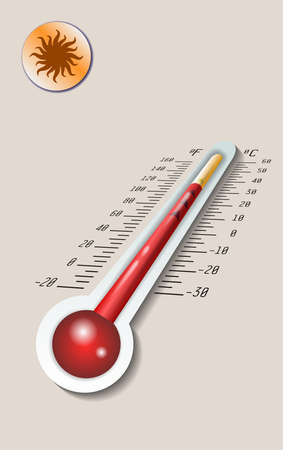 Celsius and fahrenheit meteorology thermometer measuring heat and cold, vector illustration. Thermometer equipment showing hot weather.