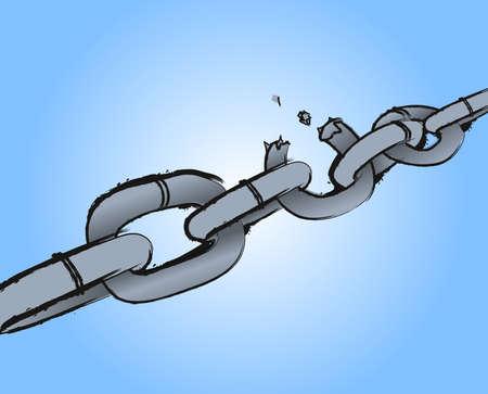 Chain Breaking. Burst chain on blue background