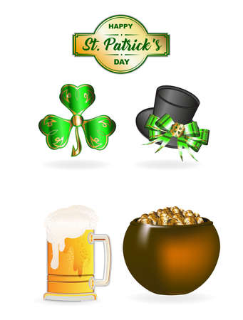 St. Patricks Day set. Clover, hat, beer and cauldron with gold, St. Patricks day set of icons. Happy St. Patricks day text.