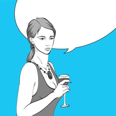 Woman drinking wine. Illustration