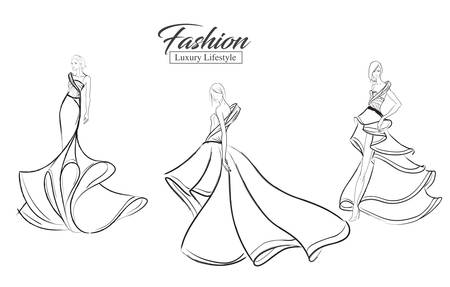 Fashion girl. Luxury lifestyle. A set of fashion sketches. Autumn-winter 2018. Fashion girls on a white background in beautiful evening dresses.