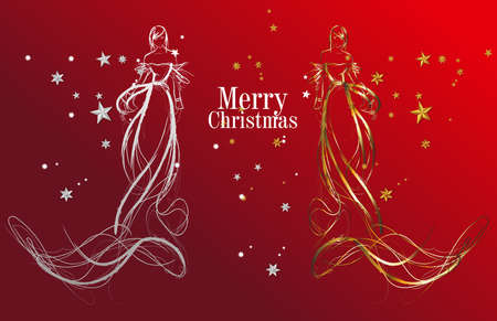 Christmas fashion girls. Greetings card with the golden and white models on the red background. Vector background with a beautiful bride in a wedding dress.