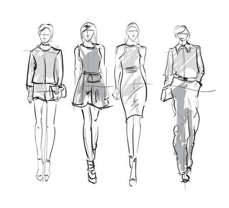 Sketch. Fashion Girls on a white background. Fashion models.