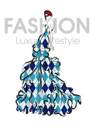 Fashion girl. Luxury lifestyle. Vector illustration. Fashion woman model in evening dress