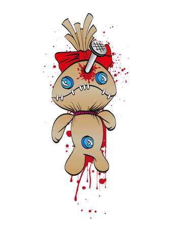 A sad rag doll with a bow on his head nailed to the wall. Blood Spots. Vector illustration.