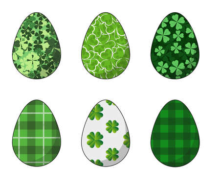 Happy Easter.Set of Easter eggs with a texture of the leaves of the clover on a white background.Spring holiday. Vector Illustration.Happy easter eggs.