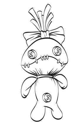 Sad rag doll with a bow on his head. Vector illustration.